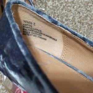 Report Shoes - Report Velvet Blue Gray Mirrored Heel Loafers
